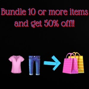 Bundle 10 or more items and get 50% off